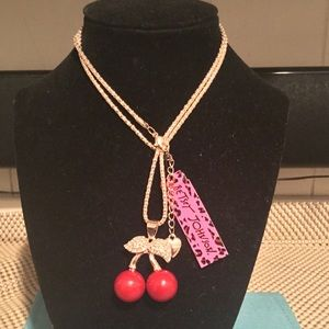 Betsey Johnson Cherry and diamond gold necklace
